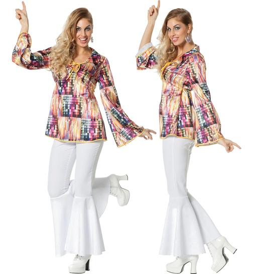 M 70er 80er Jahre Schlaghose Damen 38-40 Hose Kostüm Flower Power Hippie Hippy