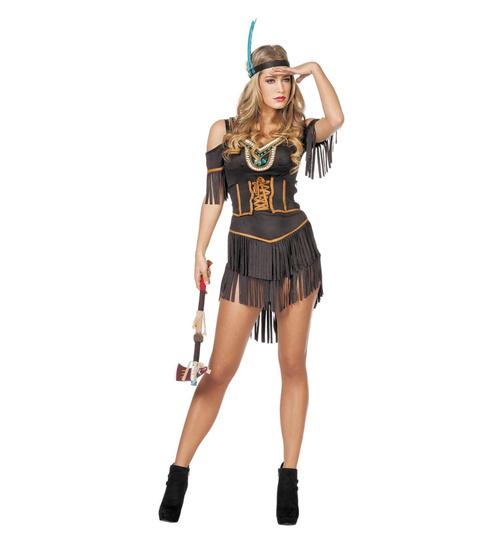 Schwarzes Indianerin Kostum In Schwarz Braun Keijo24 De Keijo24
