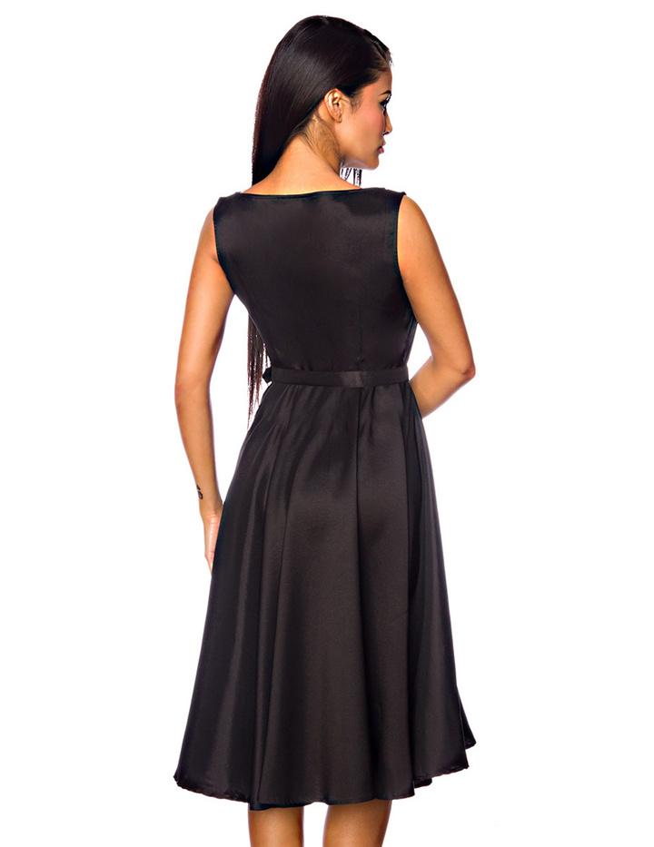 Satin-Kleid mit Gürtel Schwarz XXL - KeiJo24.de - Kostüme ...