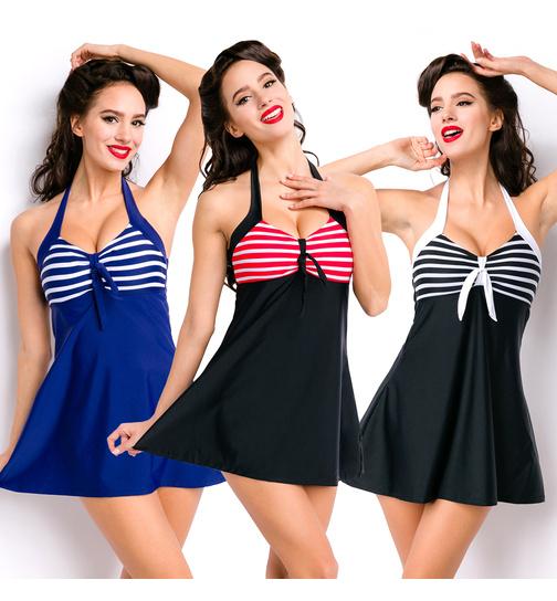 Retro Badekleid / Swim Dress in Blau/Weiß, Schwarz/Weiß, Schwarz/Rot ...