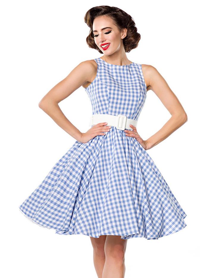 50er Retro Kleid mit Karo Muster in XS, S, M, L, XL, XXL ...