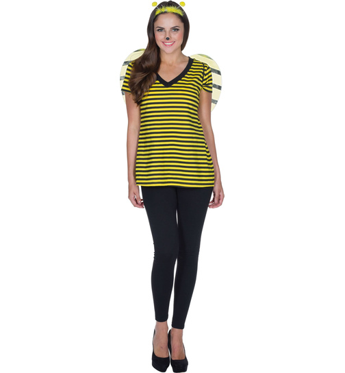 Damen Hummel Schwarze Strumpfhose Gelb Gestreift Hummel Insekten Kinder Kostüm